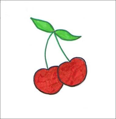 Comment dessiner une cerise - Dessin de cerise ...