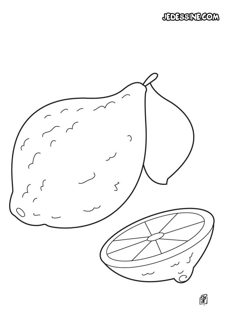 Coloriage fruit coloriage d 39 un citron - Coloriage citron ...