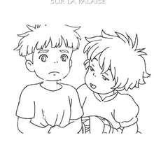 Coloriage de Sosuke et Ponyo