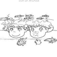 Coloriage de Ponyo et Sosuke