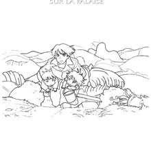 Coloriage de Ponyo et Koichi