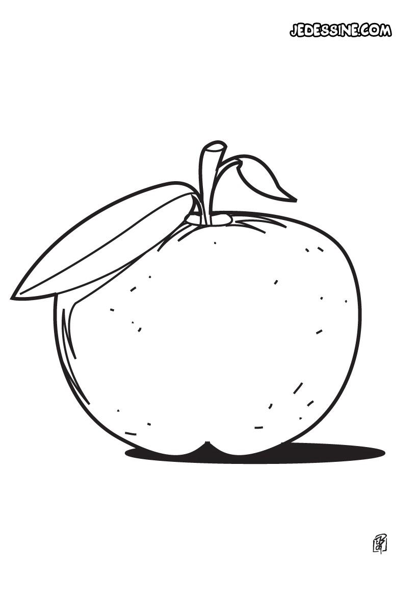 Coloriages coloriage d 39 une pomme - Dessin pomme a colorier ...