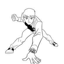 Coloriage de Ben 10 en action - Coloriage - Coloriage BEN 10 ALIEN FORCE