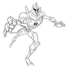 Coloriage de Incassable Attaque - Coloriage - Coloriage BEN 10 ALIEN FORCE
