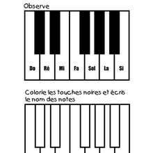 Coloriage de notes de Piano - Coloriage - Coloriage GRATUIT - Coloriage INSTRUMENTS DE MUSIQUE