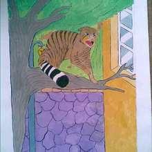 Dessin d'enfant : Le felin dans l'arbre