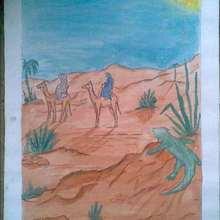 Dessin d'enfant : Traversée dans le desert.