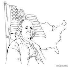 Coloriage de Benjamin Franklin pour l'indépendance - Coloriage - Coloriage HISTOIRE ET PAYS - Coloriage ETATS-UNIS - Coloriage BENJAMIN FRANKLIN
