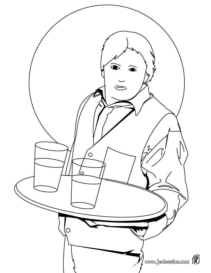 Coloriage d'un garçon de café