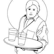 Coloriage d'un garçon de café - Coloriage - Coloriage GRATUIT METIER - Coloriages METIERS