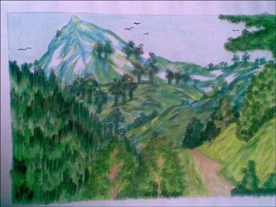 Coloriage paysage campagne - Dessin de montagne ...
