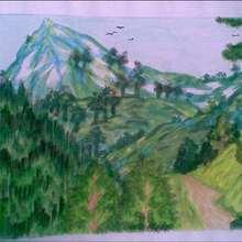 Dessin d'enfant : La montagne de Somaya et Khawala.