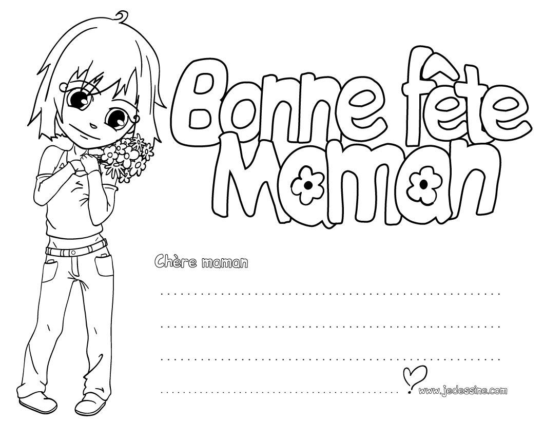 Coloriage Fête des mères: Ana et un bouquet de fleurs