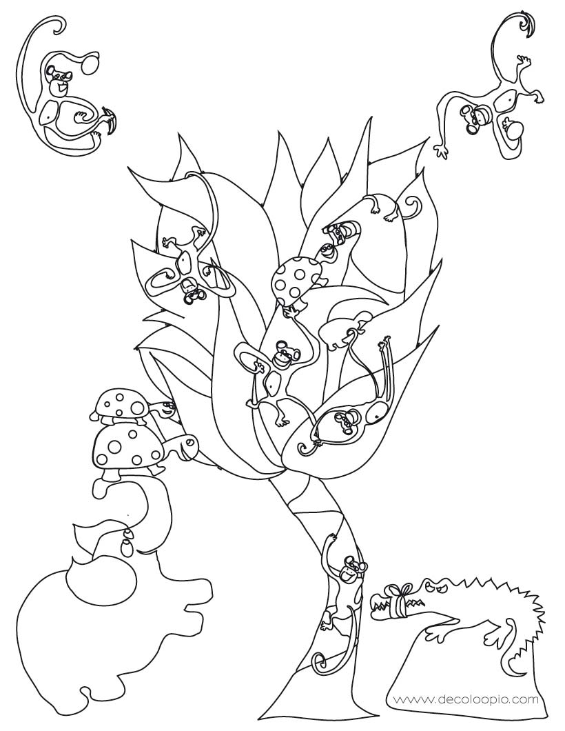 Coloriages coloriage d 39 animaux de la jungle - Coloriage animaux de la jungle ...