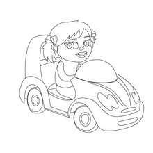 Coloriage d'une mini voiture de fille
