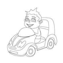 Coloriage d'une mini voiture de garçon