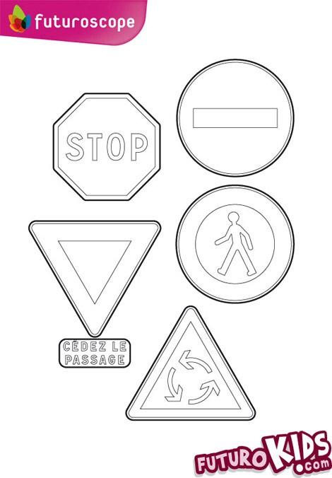 Dessin panneau de signalisation à colorier