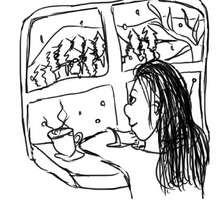Petite fille à la fenêtre - Activités - BRICOLAGE ENFANT - Bricolage Ecolo avec Tipi-Kiwi - Les coloriages de Tipi-Kiwi
