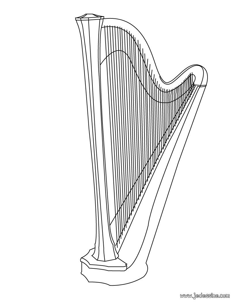 Coloriages coloriage d 39 une harpe - Dessin de flute ...