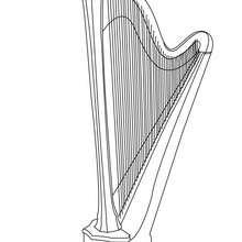 Coloriage d'une harpe - Coloriage - Coloriage GRATUIT - Coloriage INSTRUMENTS DE MUSIQUE