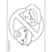 Coloriage de pancarte: Entrée interdite aux parents!