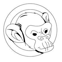 Coloriage d'un portrait de singe - Coloriage - Coloriage ANIMAUX - Coloriage ANIMAUX DE LA JUNGLE - Coloriage SINGE