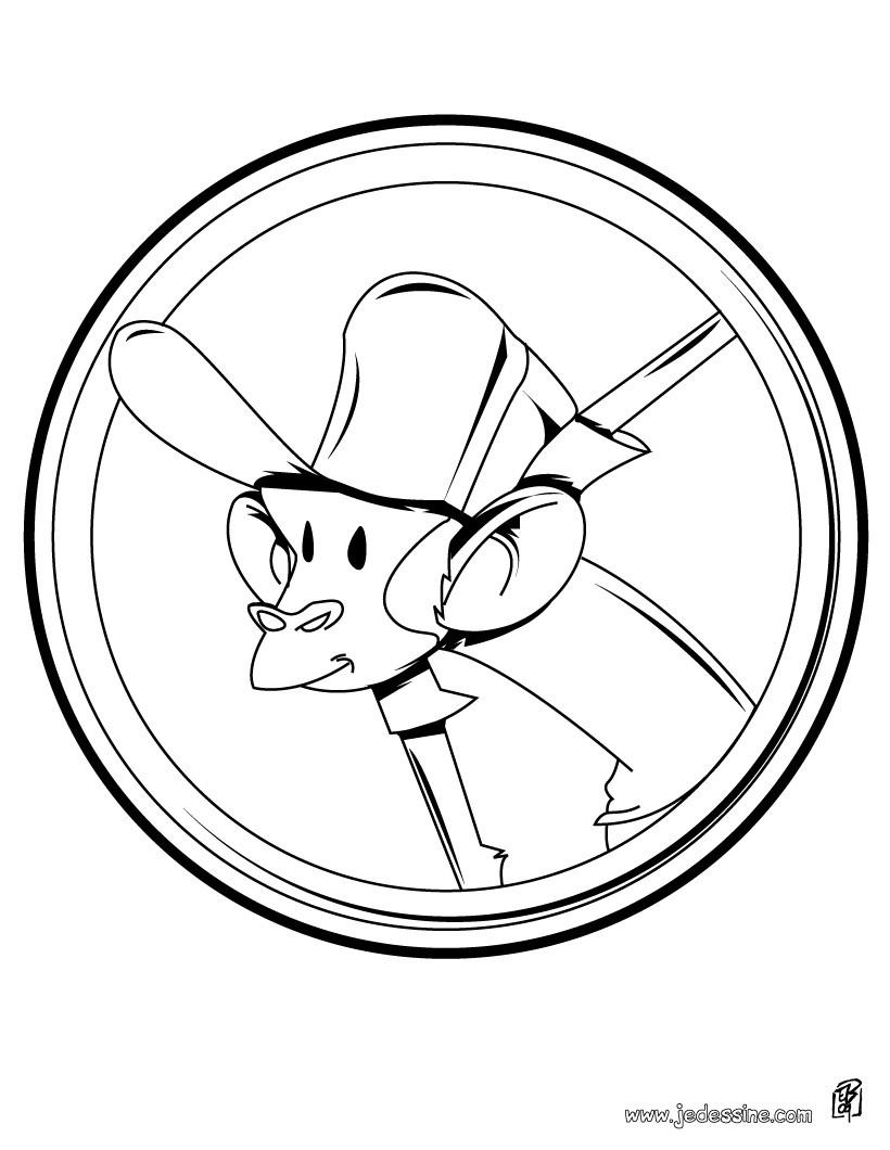 Coloriage d'un singe avec une casquette de baseball