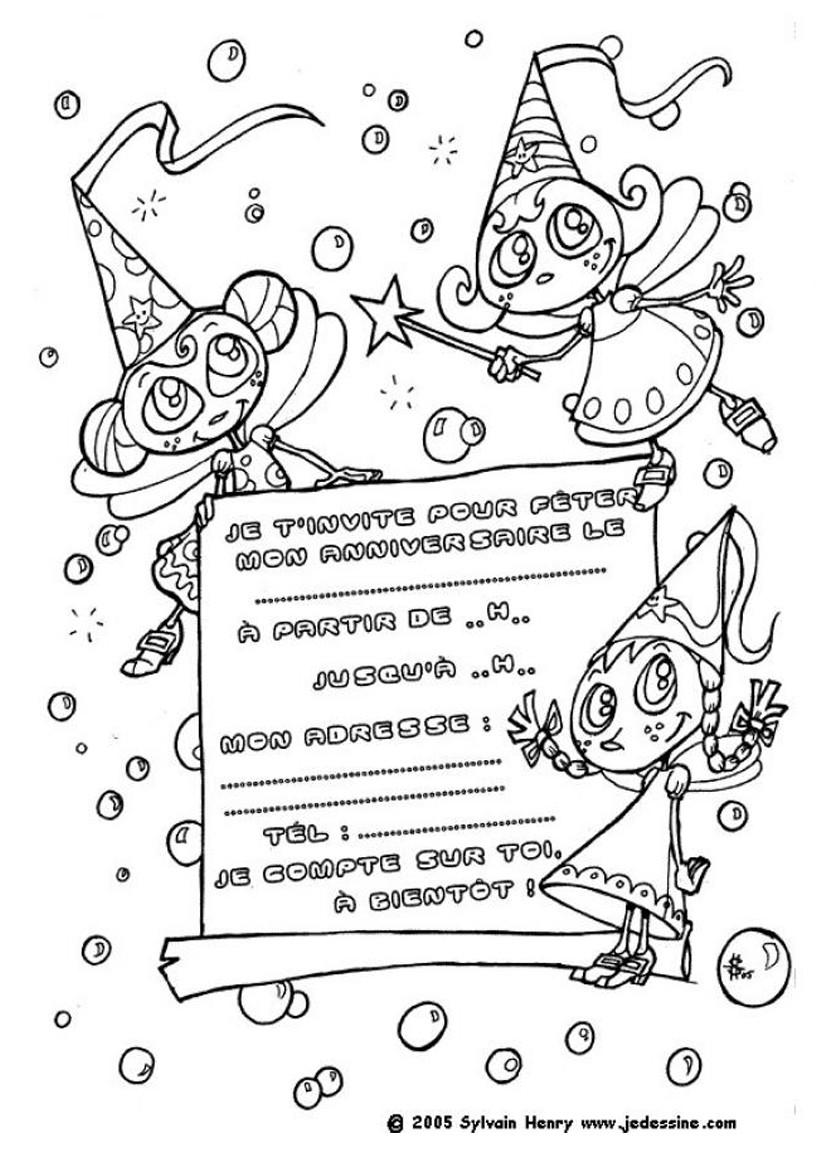 Coloriage Carte d anniversaire de fées Imprimer