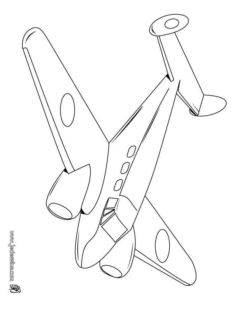 Coloriages coloriage d 39 un avion bimoteur - Dessin d un avion ...