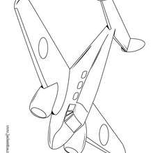 Coloriage d'un avion bimoteur - Coloriage - Coloriage VEHICULES - Coloriage AVION - Coloriage AVION DE LIGNE
