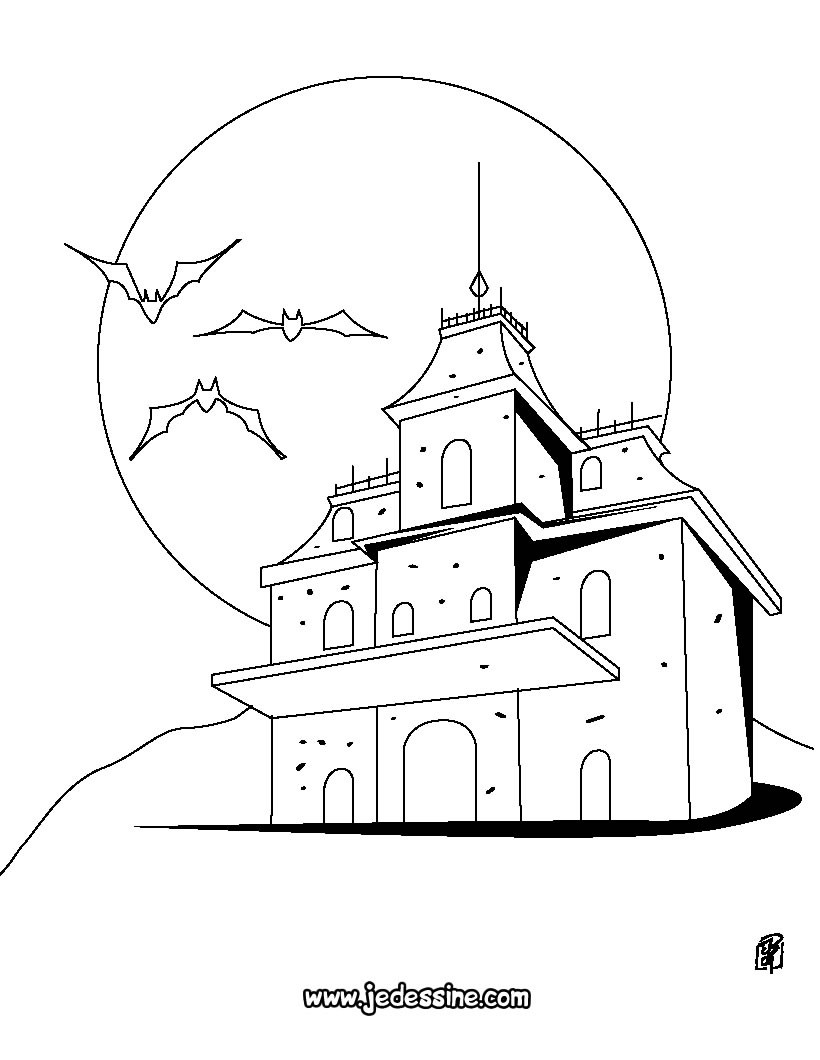 Coloriages maison d 39 halloween for Dessin maison