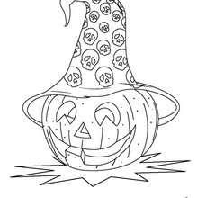 Coloriage d'Halloween : Coloriage d'une citrouille avec un chapeau de sorcière