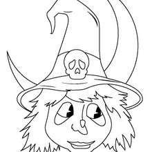 Coloriage d'une tête de sorcière d'Halloween - Coloriage - Coloriage FETES - Coloriage HALLOWEEN - Coloriage SORCIERE HALLOWEEN