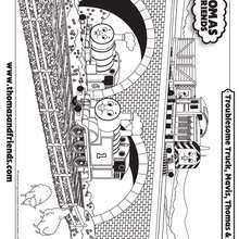 Coloriage du passage d'un pont - Coloriage - Coloriage DESSINS ANIMES - Coloriage THOMAS LE PETIT TRAIN