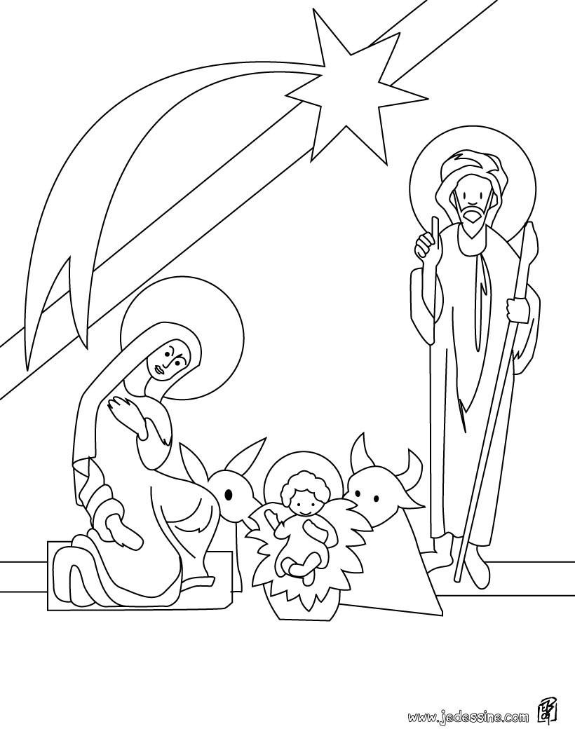 coloriage de jsus dans la crche