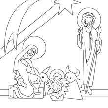 Coloriage de Jésus dans la crèche