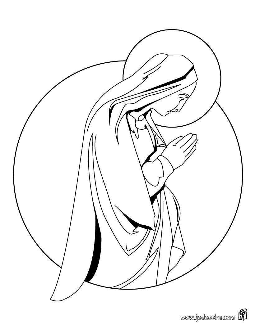 Coloriages coloriage de la vierge marie   fr.hellokids.com