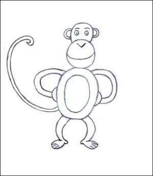 Comment dessiner un singe - Dessin guenon ...