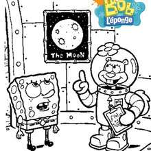 Coloriage de Bob et Sandy qui rêvent d'aller sur la Lune - Coloriage - Coloriage DESSINS ANIMES - Coloriage BOB L'EPONGE - Coloriage SANDY