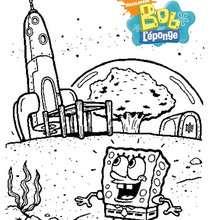 Coloriage de Bob en admiration devant une fusée - Coloriage - Coloriage DESSINS ANIMES - Coloriage BOB L'EPONGE - Coloriages BOB L'EPONGE