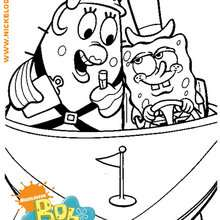 Coloriage de Bob et Madame Puff - Coloriage - Coloriage DESSINS ANIMES - Coloriage BOB L'EPONGE - Coloriage MADAME PUFF