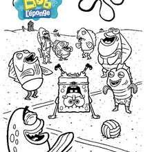 Coloriage Bob l'éponge : La fête à la plage