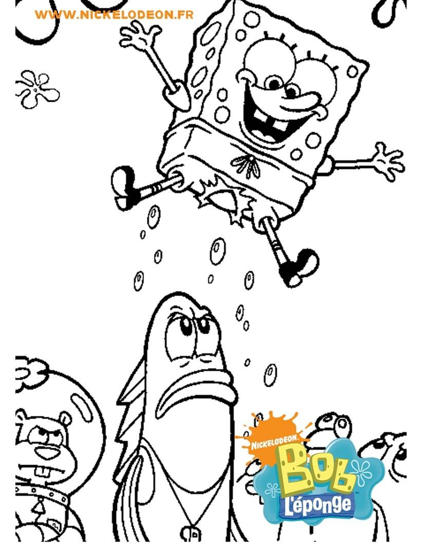coloriage de bob lponge propuls par les bulles coloriage coloriage dessins animes - Coloriage Colorier