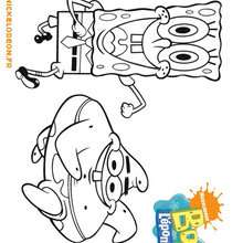 Coloriage de grand Bob et petit Patrick - Coloriage - Coloriage DESSINS ANIMES - Coloriage BOB L'EPONGE - Coloriage PATRICK