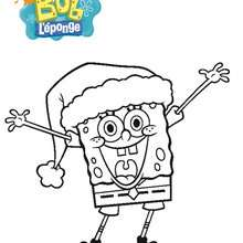 Coloriage de Bob et son bonnet de Pre-Noel - Coloriage - Coloriage DESSINS ANIMES - Coloriage BOB L'EPONGE - Coloriages BOB L'EPONGE