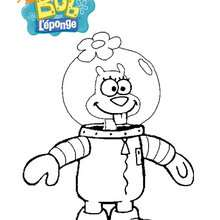 Coloriage Bob l'éponge : Sandy dans sa tenue de cosmonaute