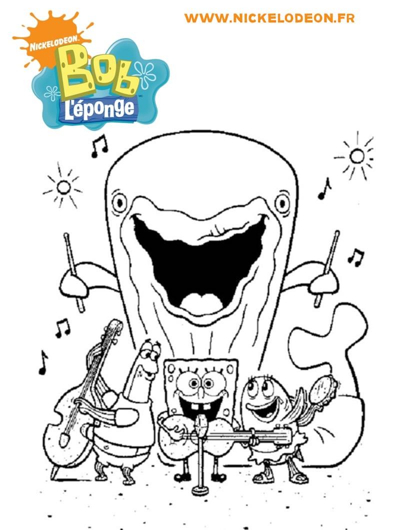 Coloriages le concert de bob et ses amis - Dessin eponge ...