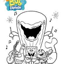 Coloriage du concert de Bob et ses amis - Coloriage - Coloriage DESSINS ANIMES - Coloriage BOB L'EPONGE