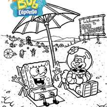 Coloriage de Bob  la plage avec Sandy - Coloriage - Coloriage DESSINS ANIMES - Coloriage BOB L'EPONGE - Coloriage SANDY