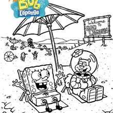 Coloriage de Bob à la plage avec Sandy - Coloriage - Coloriage DESSINS ANIMES - Coloriage BOB L'EPONGE - Coloriage SANDY